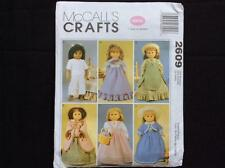 """MCCALLS pattern historical clothes for 18"""" doll 2609 dress pajamas Colonial"""