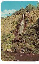 WATERFALL and Old Water Wheel Clear Creek Idaho Springs COLORADO Postcard CO
