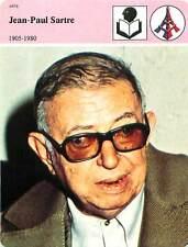 FICHE CARD Jean-Paul Sartre 1905-1980 écrivain philosophe L'Être et le Néant 90s