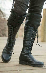 Men's Fashion Faux Leather Buckle Round Toe Lace Up Knee High Riding Boots Shoes