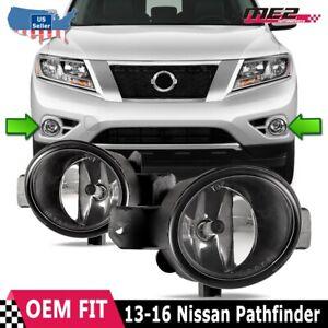 Fit 13-16 Nissan Pathfinder Clear Lens PAIR Bumper Replacement Fog Light Lamp