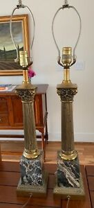 Two / Pair / Set of Neoclassical Lamps, Black Marble Base with Brass Column