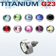 G23 Titanium Internally Threaded Dermal Anchor Top Part 14G 3mm CZ Gem