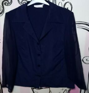 Size 12 Vintage Navy Blue Sheer Chiffon Sleeves Unusual Button Shirt Blouse