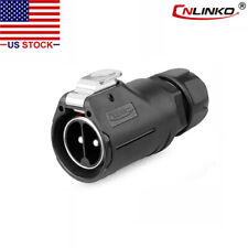 CNLINKO 2 Pin 50A Power Connector Male Plug Waterproof IP67 High Amp