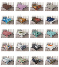 Quilted Bed Cover Decorative Bedspread Coverlet Set with Shams by Ambesonne