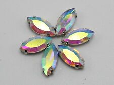 20 Clear AB Crystal Glass Horse Eye Rose Montees 7X15mm Sew on Rhinestones Beads