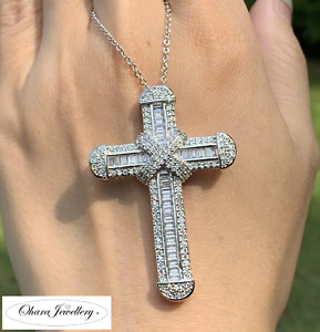 925 Solid Sterling Silver Large Cross Cubic Zirconia Bling Necklace Jewellery