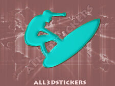 3D Sticker Decal Resin Domed Surfer Surf Adhesive Decal  Turquoise