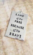 New listing Quote Charm Word Charm Flag Pendant Us Flag Land Of The Free America Charm *