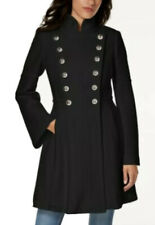NWT $275 Guess Double Breasted Military Coat Black Size SMALL