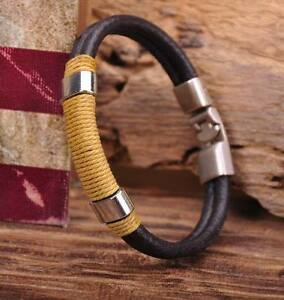 G38 New Surfer Hemp Wrap Leather Handmade Men's Wristband Bracelet Cuff Brown