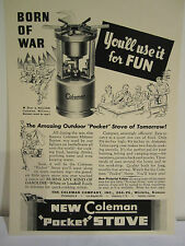 """VINTAGE 1940's WWII COLEMAN OUTDOOR POCKET STOVE """"BORN OF WAR"""" SIGN AD"""
