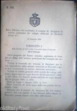 1893/696 Regio Decreto che costituisce il comune di SANGIANO da GAVIRATE (Como)