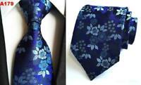 Tie Flower Blue Patterned Handmade 100% Silk Wedding Mens Formal Necktie