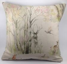 "Voyage Sherwood Forrest Deer Fox Rabbit Bird Linen 16"" Cushion Cover"
