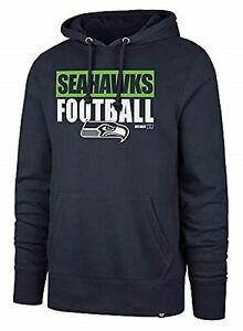 Seattle Seahawks NFL '47 Blockout Navy Blue Headline Pullover Hoodie Men's XL