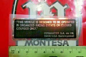 Montesa 125 250 360 AM Competition Only Decal NOS Cota Cappra Enduro Race Decal