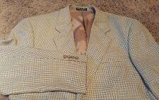 Club Room Pantex Silk Blend Beige Houndstooth 2 Button Sport Coat Mens 40R EUC