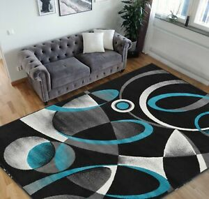 Square Pattern Area Rug 5x7 Geometric Pattern Modern Turquoise & Grey Carpet...