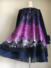 1301.BNWT!axes femme under the starry-sky magic-night amusement park dress purpl