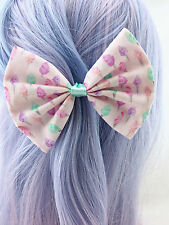 Pink with Pastel Fairy Floss Print Medium Fabric Hair Bow - Kawaii Hair Clip