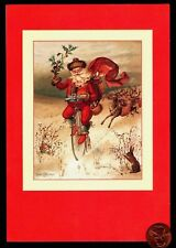 Vintage Hallmark Christmas Santa Claus Bicycle Deer Rabbit Greeting Card New