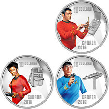 Canadian Mint 2016 Star Trek 50th 3 Coin Crew Members $10 Silver Proof Set Spock