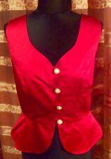 Vera Mont Korsage Top Bluse Weste Rot Satin schimmernd Gr 40 + Kette* gratis
