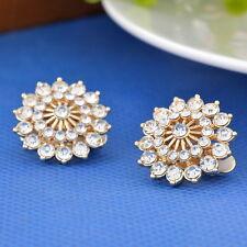 Women Gilded Ear Clips Earrings Ear Clamp Clips Flower Strass Earrings Jewelry