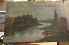 1915 ERA LOWELL, MASS AREA OIL PAINTING BY LYNN W. FELCH RIVER & FARMHOUSE SCENE