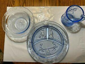 Vintage Margery Daw Childs Nursery Rhyme Blue Depression Glass Dish