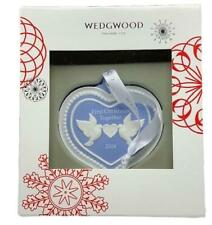 Wedgwood 2016 Our First 1St Christmas Together Porcelain Ornament Blue Heart New