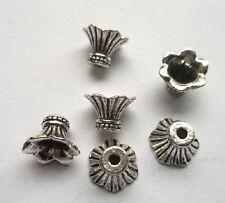 60pcs Tibet silver  horn Flower End Beads Caps 11x8 mm