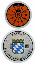 German License Plate Registration Seal - Ingolstadt Audi 2019 Set