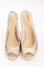 JOAN & DAVID Sz 9.5 Peep Toe Snakeskin Slingback Heels Shoes Beige/Metallic Gold