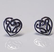 Pair of CELTIC HEART STUD EARRINGS 925 Sterling SILVER 8mm : Ladies Knot