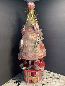 """Vintage Table Top 17"""" Christmas Tree Candy Ornaments Wind Up Jingle Bells Japan"""