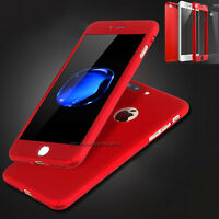 Hybrid 360° Hard Ultra thin Case + Tempered Glass Cover For iPhone SE 5 6 7 Plus