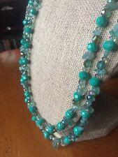 Teal Beaded Necklace, Glass Beaded Women's Jewelry, Spring Jewelry, Handmade