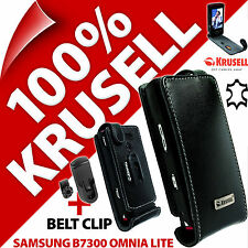 New Krusell Black GENUINE LEATHER Flip Case Cover for Samsung B7300 Omnia Lite