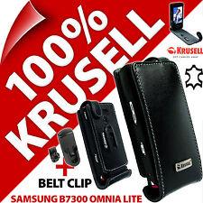 Nuevo Krusell Negro Genuino Cuero Abatible Estuche Cubierta Para Samsung B7300 Omnia Lite