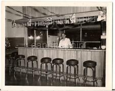 Christmas Decorations Bartender Man Standing At The Bar Vintage 1940s Photo