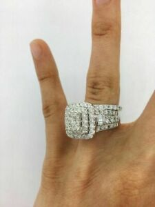 White Plated 3.60 CT White Round CZ Women's Engagement Ring Set Solid 925 Silver