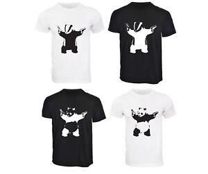 Mens Banksy Graffiti Badger OR Panda with Guns T-Shirt S M L XL 2XL 3XL Dad Gift