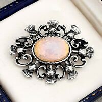 Vintage Milky Pink & Gold Glass Fire Opal - Scottish Thistle Celtic Brooch Pin