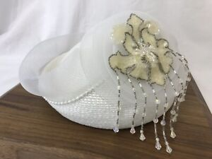 Vtg Women's Hat Dressy White Mesh Wrapped Beaded Sequins Fascinator Small Medium