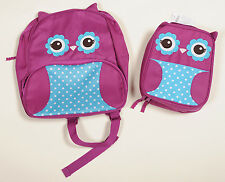 NWT Gymboree Purple Blue Owl Backpack & Lunch Box School SET NEW
