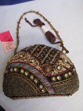 Prezzo Beaded Jewels Tiger Stripe Evening Clutch Purse Handbag Shoulder Strap N