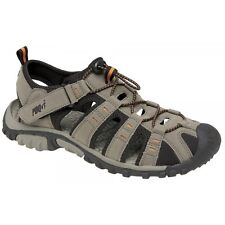PDQ Ted Trekking Trail Toggle Touch Fastening Summer Sandals Mens UK 8 / EU 42 Dark Taupe/orange Synth.nubuck